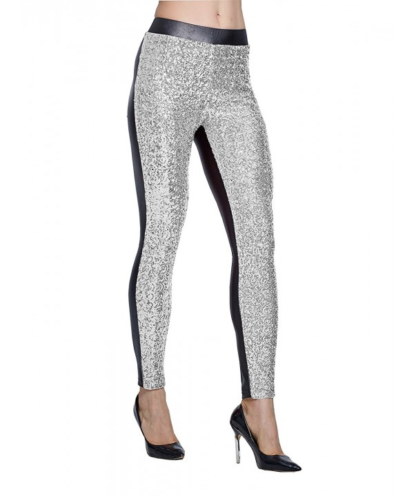Lotsyle Sequins Leggings Trousers Silver XL
