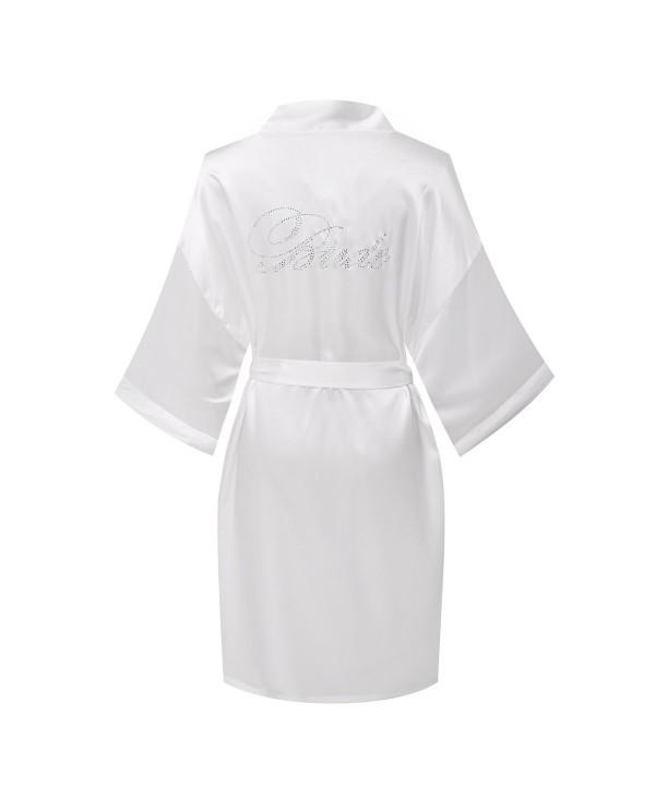 Yukata Satin Wedding Robes Rhinestones Bride