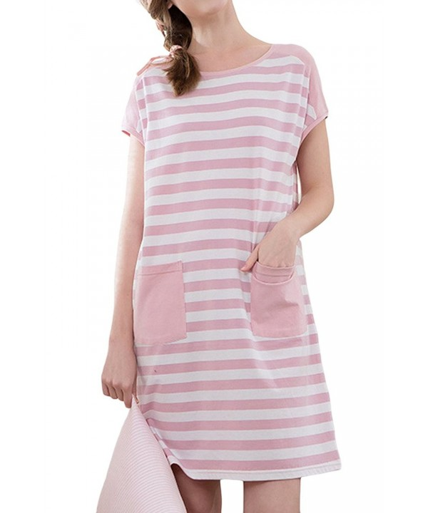 Asherbaby Striped Nightgown Nightwear Pockets