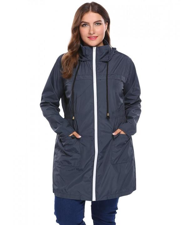f7f708fbdbafb Women Plus Size Lightweight Raincoat Cycling Hiking Portable Anorak ...