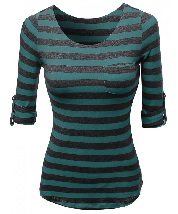 Awesome21 Tabbed Sleeve Striped Casual