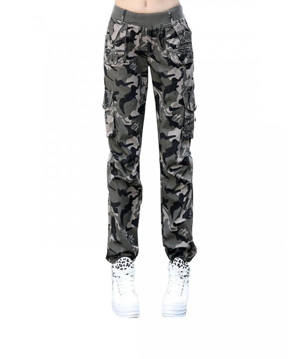 Womens Elastic Sweatpants Camouflage Pockets